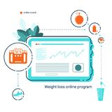 Compressa con il app del piano online di dieta, delle foglie e delle icone piane dello stile di vita sano Progettazione mobile di immagini stock libere da diritti