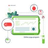 Compressa con il app del piano online di yoga, delle foglie e delle icone piane dello stile di vita sano Progettazione mobile di  fotografia stock libera da diritti