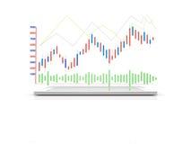 Compressa dell'elaboratore digitale con il grafico di analisi 3d come devic senza fili Fotografia Stock