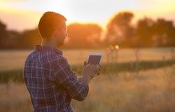 Compressa della tenuta dell'agricoltore nel campo al tramonto Immagini Stock Libere da Diritti