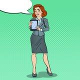 Compressa di Art Beautiful Business Woman Holding Digital di schiocco Fotografia Stock