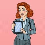 Compressa di Art Business Woman Holding Digital di schiocco Fotografie Stock Libere da Diritti
