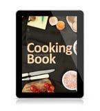 Compressa di Digital che cucina libro fotografia stock