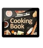 Compressa di Digital che cucina libro fotografie stock