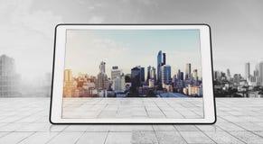 Compressa di Digital su legno bianco, con gli ambiti di provenienza della città nell'alba Immagine Stock