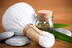 Compressa di erbe di massaggio Immagine Stock