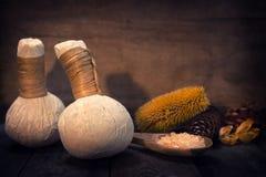 Compressa di erbe di massaggio Immagini Stock
