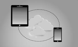 Compressa e smartphone con uno schermo in bianco Servizio della nuvola Fotografia Stock
