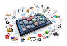 Compressa ed icone 3d Immagini Stock
