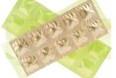 Compressa nel pacchetto di alluminio della striscia dell'oro Fotografia Stock Libera da Diritti