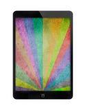Compressa nera con il fondo multicolore di lerciume dei raggi di sole Fotografie Stock