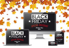 Compressa Noteb del monitor di Autumn Foliage Fall Black Friday Smartphone Fotografia Stock