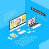 Compressa rispondente isometrica del telefono del computer portatile di progettazione Fotografie Stock