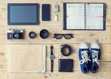 Compressa, telefono, album, vetri, macchina fotografica, lenti, portafoglio, gumshoes, Immagini Stock Libere da Diritti