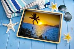 Compressa tropicale di tramonto di viaggio Fotografia Stock