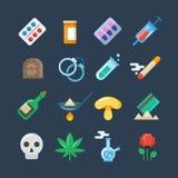Compresse della droga illegale, dipendenza di alcool, icone piane di vettore di abuso della metamfetamina illustrazione vettoriale