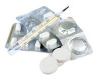 Compresse e pillole di vitamine Fotografia Stock