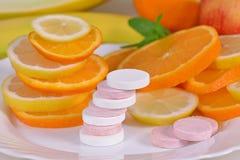 Compresse, vitamine Fotografia Stock Libera da Diritti