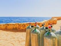 Compressed air tanks prepared for diving trip. At stock image