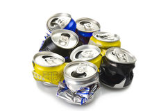 Compressed aluminium can. Close up on white royalty free stock image