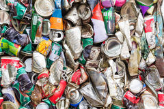 Compressed aluminum can Royalty Free Stock Image