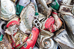 Compressed aluminum cans for recycle Stock Photo
