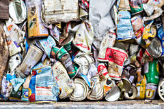 Compressed aluminum cans for recycle Royalty Free Stock Image