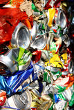 Compressed beer cans. Background close up stock photos