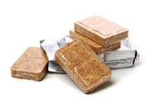 Compressed biscuit food. On white background royalty free stock images