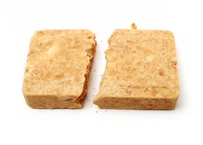 Compressed biscuit food. On white background royalty free stock image