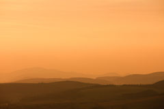 Compressed layered hills, Slovakia. Compressed layered hills as seen from Spissky hrad (castle), Slovakia stock photo