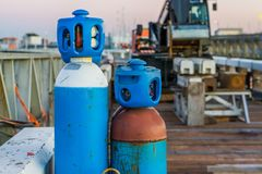 Compressed liquid air tanks, basic diving equipment, industrial background royalty free stock photos
