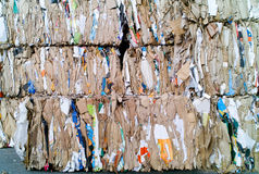 Compressed paper and cardboard. Waiting recycling royalty free stock photography