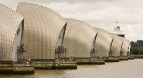 Compressed Perspective View of the Thames Barrier Stock Photos