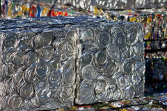 Compressed tin cans. A bale of compressed tin cans for recycling stock photos