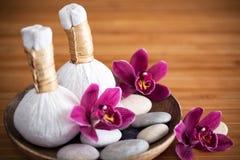 Compresses de fines herbes de massage Photos libres de droits
