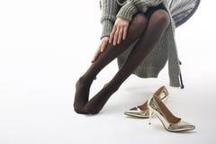 Compressielegging, hulp voor vermoeide benen stock foto's