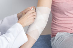 Compression bandage to inflammation. royalty free stock images