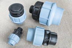 Compression couplings and fittings Stock Photo