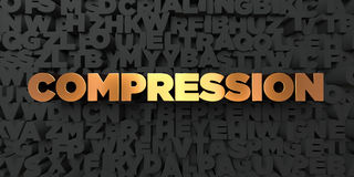 Compression - Gold text on black background - 3D rendered royalty free stock picture Stock Photo