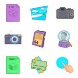 Compression icons set, cartoon style Stock Photos