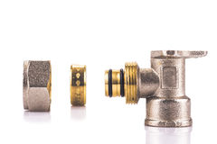 Compression sanitary wall plate fitting. Disassembled royalty free stock image