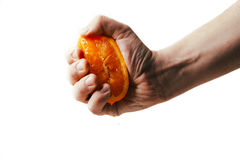 Compressioni drammatiche dell'uomo arancio Conceptis stanco da lavoro Immagine Stock