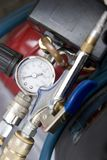 Compressor. Pressure guage and blower nozzle stock photography
