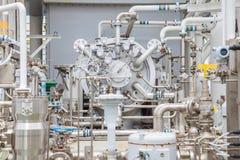 Compressor centrifugaaltype van de gasturbine bij zeeolie en gas centraal verwerkingsplatform stock fotografie