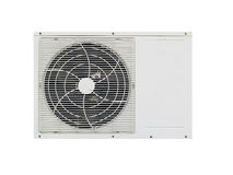Compressor do condicionamento de ar isolado no fundo branco Imagens de Stock