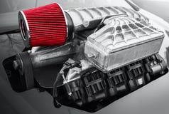 Compressor exterior, compressor de ar com filtro vermelho Fotos de Stock