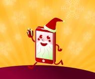 Compri i regali di Natale online che comperano con lo Smart Phone il Babbo Natale Fotografie Stock Libere da Diritti