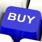 Compri il tasto del computer in blu per il commercio o la vendita al dettaglio Fotografia Stock Libera da Diritti