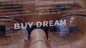 Compri il testo di sogno su fondo di sviluppatore stock footage